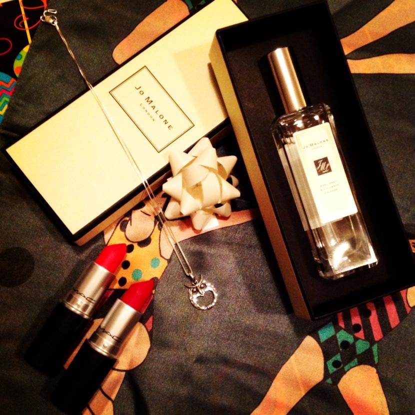 Scarf - Karen Mabon, Lipsticks - MAC, Perfume - Jo Malone, Owl Necklace - Manchester Art Gallery